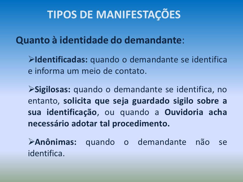 Quanto à identidade do demandante: Identificadas: quando o demandante se identifica e informa um meio de contato. Sigilosas: quando o demandante se id