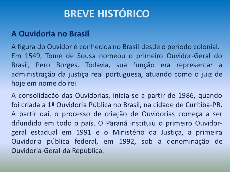 A Ouvidoria no Brasil A figura do Ouvidor é conhecida no Brasil desde o período colonial. Em 1549, Tomé de Sousa nomeou o primeiro Ouvidor-Geral do Br