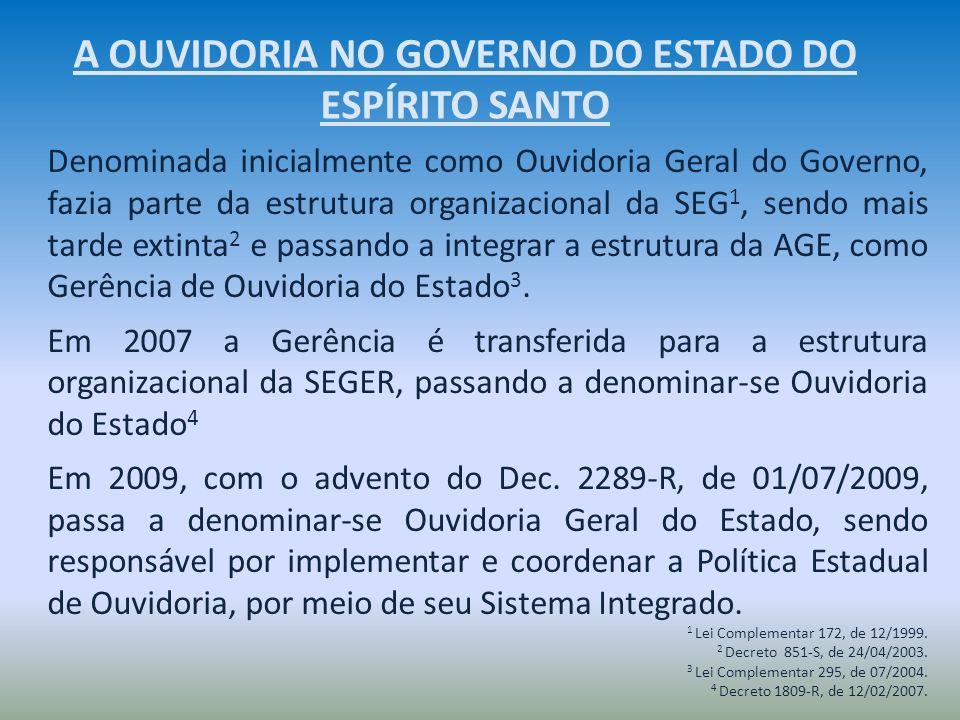 Denominada inicialmente como Ouvidoria Geral do Governo, fazia parte da estrutura organizacional da SEG 1, sendo mais tarde extinta 2 e passando a int