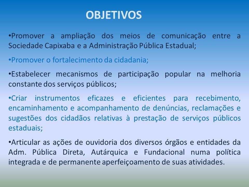 Promover a ampliação dos meios de comunicação entre a Sociedade Capixaba e a Administração Pública Estadual; Promover o fortalecimento da cidadania; E
