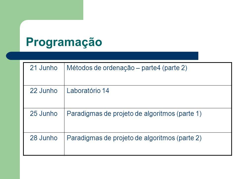 Programação 21 JunhoMétodos de ordenação – parte4 (parte 2) 22 JunhoLaboratório 14 25 JunhoParadigmas de projeto de algoritmos (parte 1) 28 JunhoParad