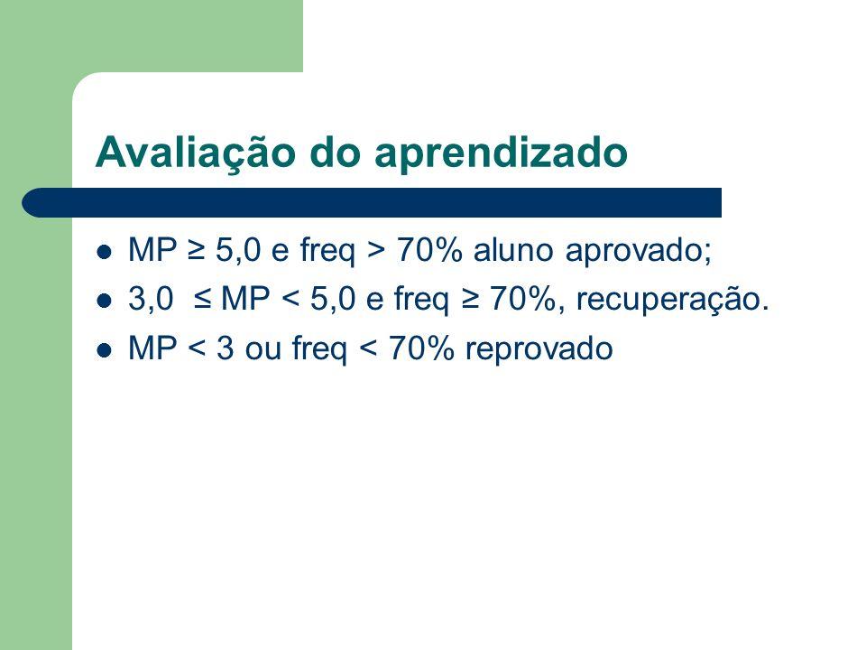 Avaliação do aprendizado MP 5,0 e freq > 70% aluno aprovado; 3,0 MP < 5,0 e freq 70%, recuperação. MP < 3 ou freq < 70% reprovado