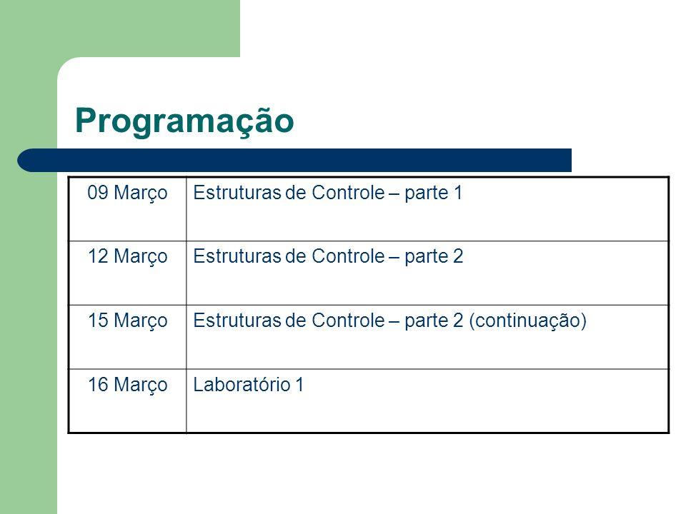 Programação 09 MarçoEstruturas de Controle – parte 1 12 MarçoEstruturas de Controle – parte 2 15 MarçoEstruturas de Controle – parte 2 (continuação) 1