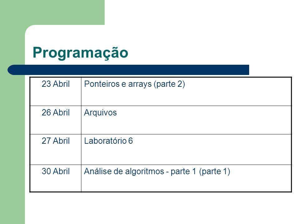 Programação 23 AbrilPonteiros e arrays (parte 2) 26 AbrilArquivos 27 AbrilLaboratório 6 30 AbrilAnálise de algoritmos - parte 1 (parte 1)
