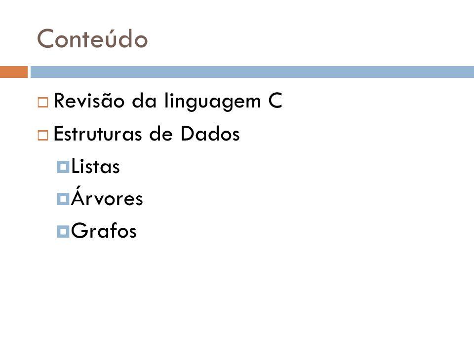Conteúdo Revisão da linguagem C Estruturas de Dados Listas Árvores Grafos