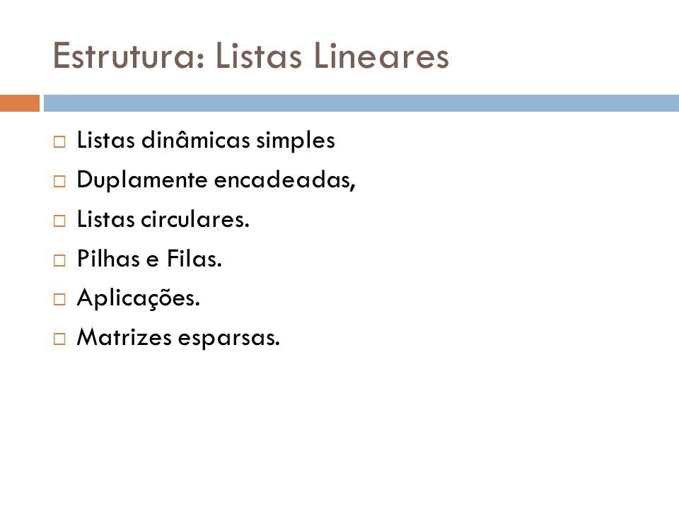 Estrutura: Listas Lineares Listas dinâmicas simples Duplamente encadeadas, Listas circulares. Pilhas e Filas. Aplicações. Matrizes esparsas.