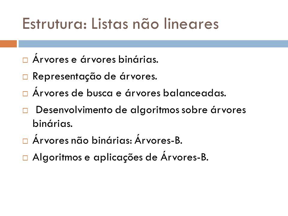 Estrutura: Listas não lineares Árvores e árvores binárias. Representação de árvores. Árvores de busca e árvores balanceadas. Desenvolvimento de algori