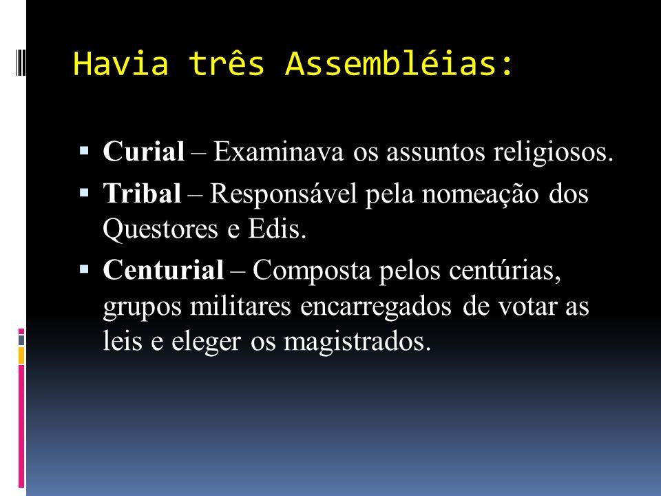Havia três Assembléias: Curial – Examinava os assuntos religiosos.
