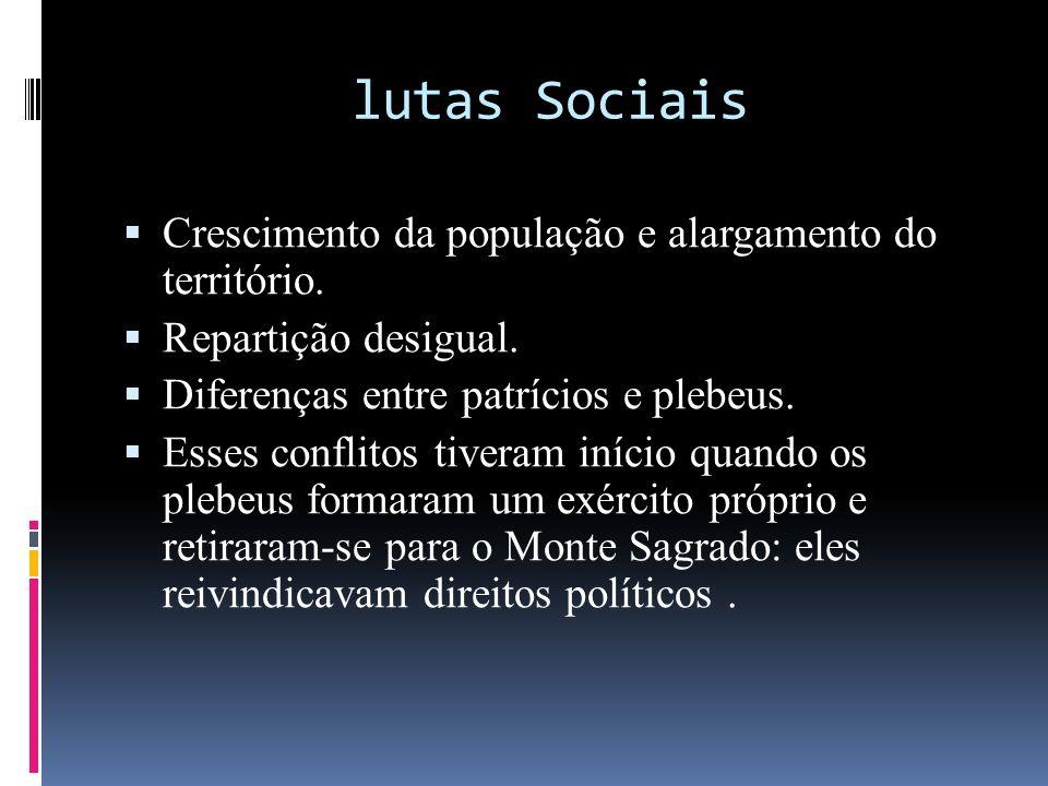 lutas Sociais Crescimento da população e alargamento do território.