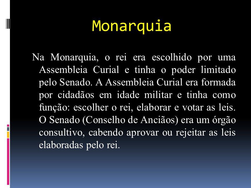 Monarquia Na Monarquia, o rei era escolhido por uma Assembleia Curial e tinha o poder limitado pelo Senado.