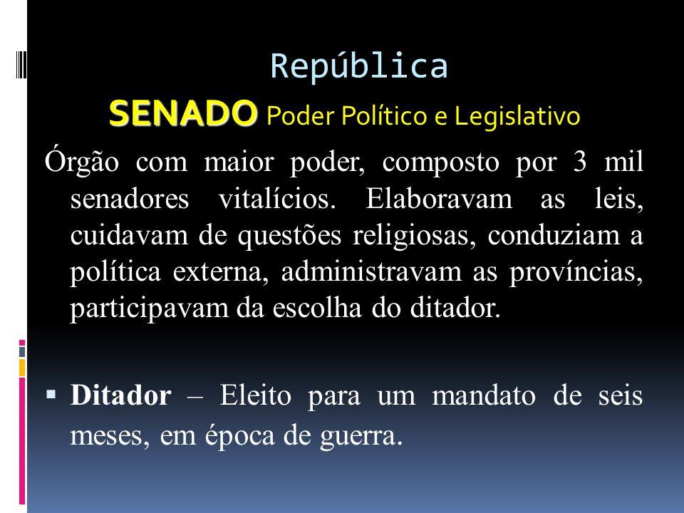 República SENADO SENADO Poder Político e Legislativo Órgão com maior poder, composto por 3 mil senadores vitalícios.