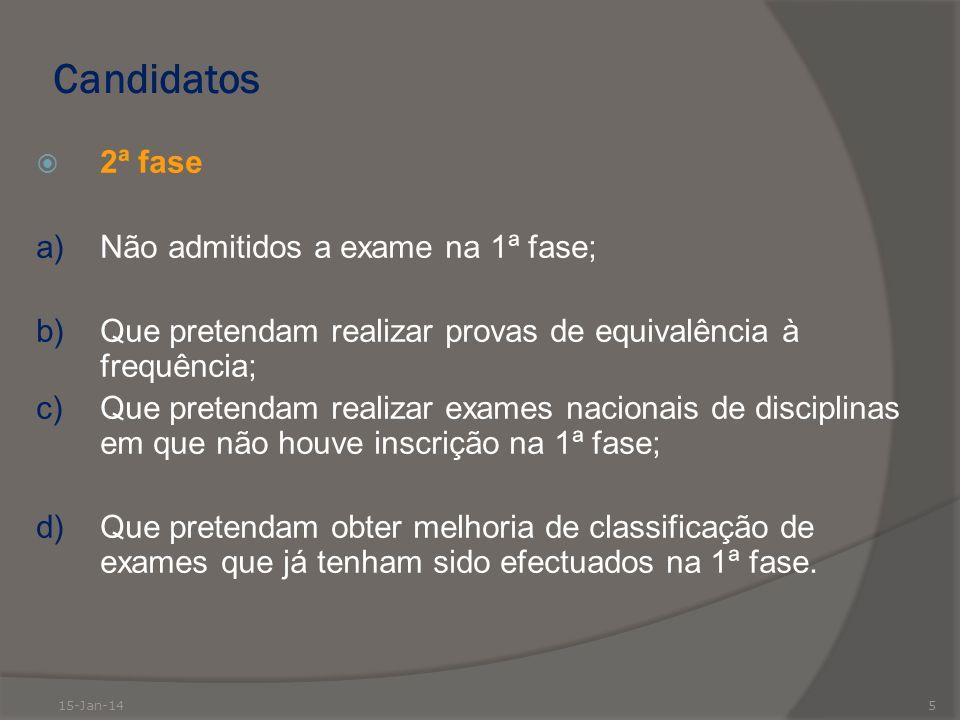 Candidatos 2ª fase a)Não admitidos a exame na 1ª fase; b)Que pretendam realizar provas de equivalência à frequência; c)Que pretendam realizar exames n