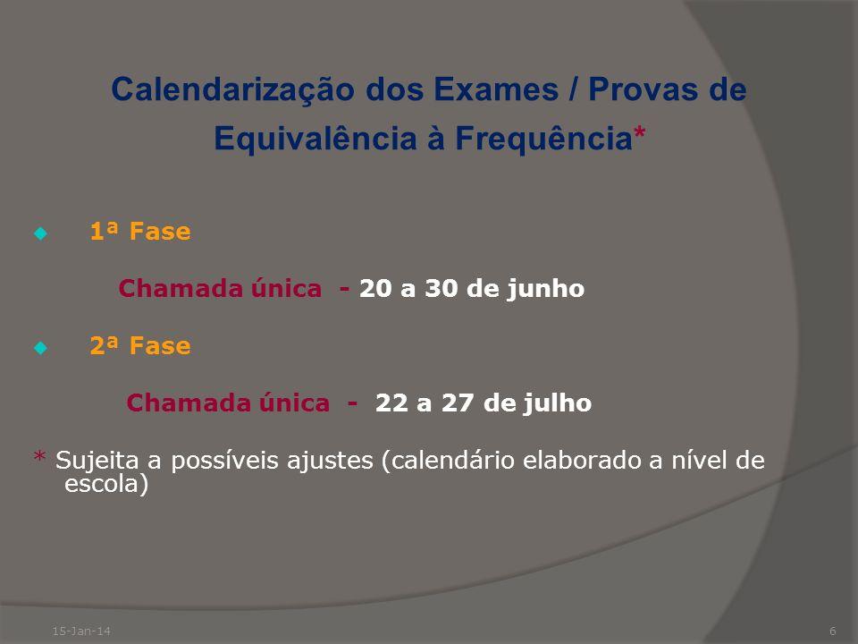 6 Calendarização dos Exames / Provas de Equivalência à Frequência* 1ª Fase Chamada única - 20 a 30 de junho 2ª Fase Chamada única - 22 a 27 de julho *