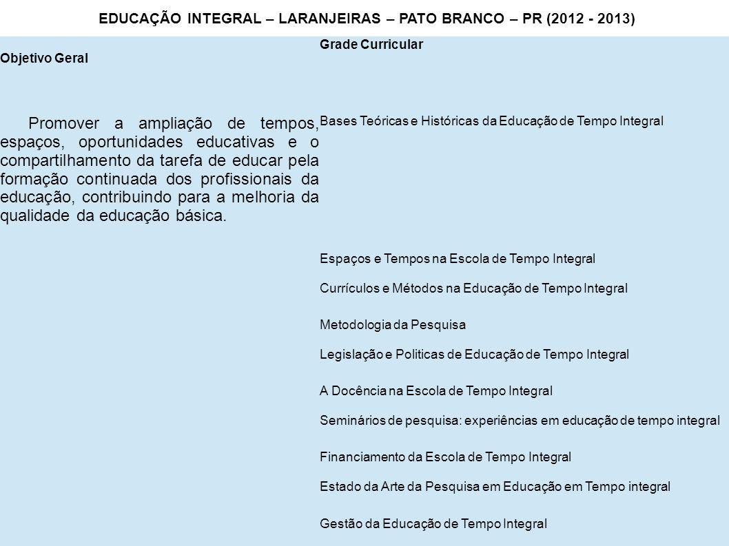 Objetivo Geral Grade Curricular Promover a ampliação de tempos, espaços, oportunidades educativas e o compartilhamento da tarefa de educar pela formaç