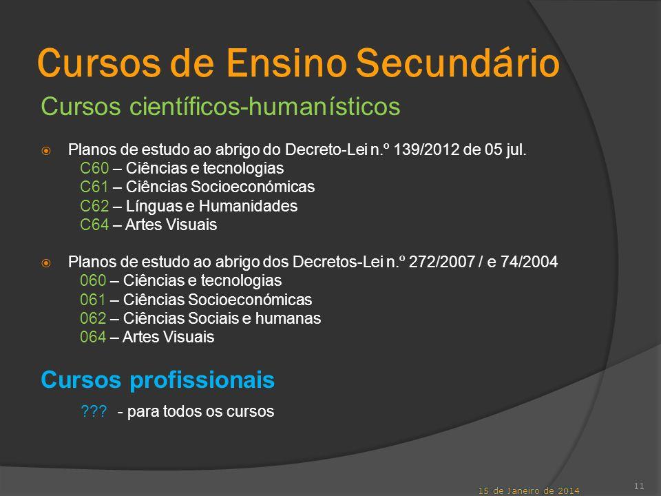Cursos de Ensino Secundário Cursos científicos-humanísticos Planos de estudo ao abrigo do Decreto-Lei n.º 139/2012 de 05 jul. C60 – Ciências e tecnolo