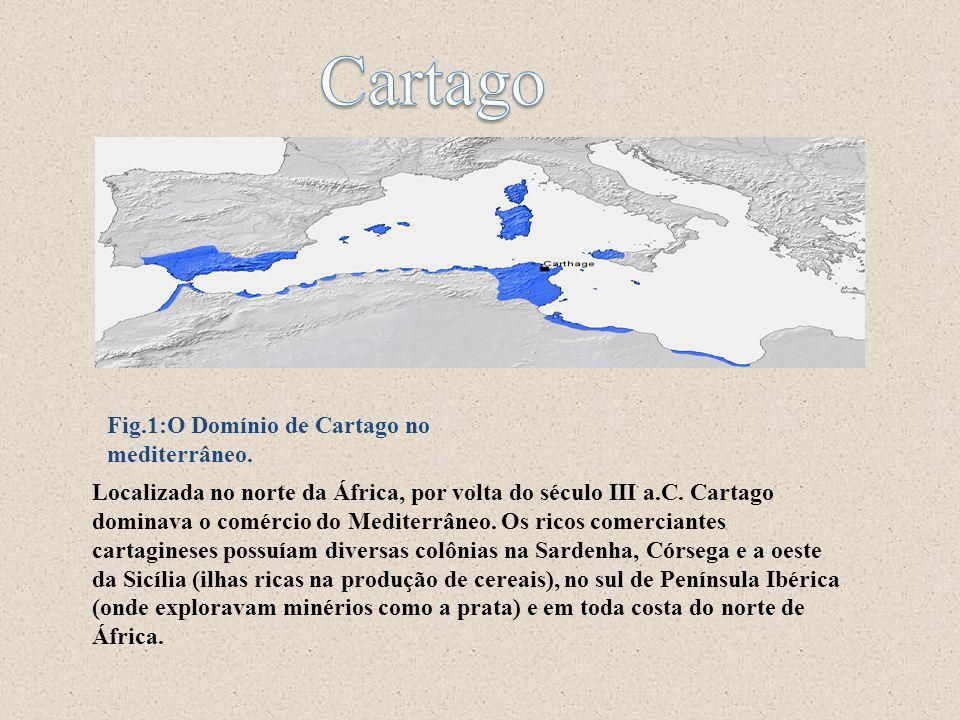 Localizada no norte da África, por volta do século III a.C. Cartago dominava o comércio do Mediterrâneo. Os ricos comerciantes cartagineses possuíam d