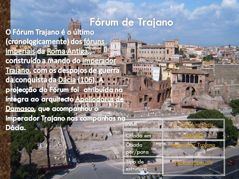 local local IV Templum Pacis IV Templum Pacis Criada em Criada em 100 dC 100 dC Criada por/para Criada por/para Imperador Trajano Imperador Trajano Tipo de estrutura Tipo de estrutura Fóruns imperiais Fóruns imperiais