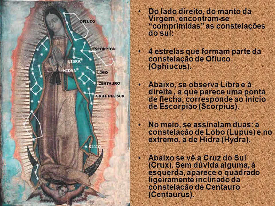8. As estrelas visíveis no Manto de Maria refletem a exata configuração e a posição em que se apresentava o céu do México, no dia em que aconteceu o m