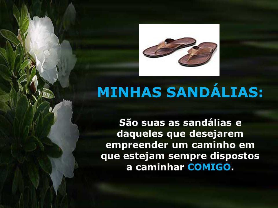 MINHAS SANDÁLIAS: São suas as sandálias e daqueles que desejarem empreender um caminho em que estejam sempre dispostos a caminhar COMIGO.