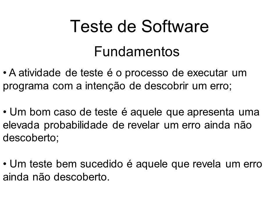 Teste de Software A atividade de teste é o processo de executar um programa com a intenção de descobrir um erro; Um bom caso de teste é aquele que apresenta uma elevada probabilidade de revelar um erro ainda não descoberto; Um teste bem sucedido é aquele que revela um erro ainda não descoberto.