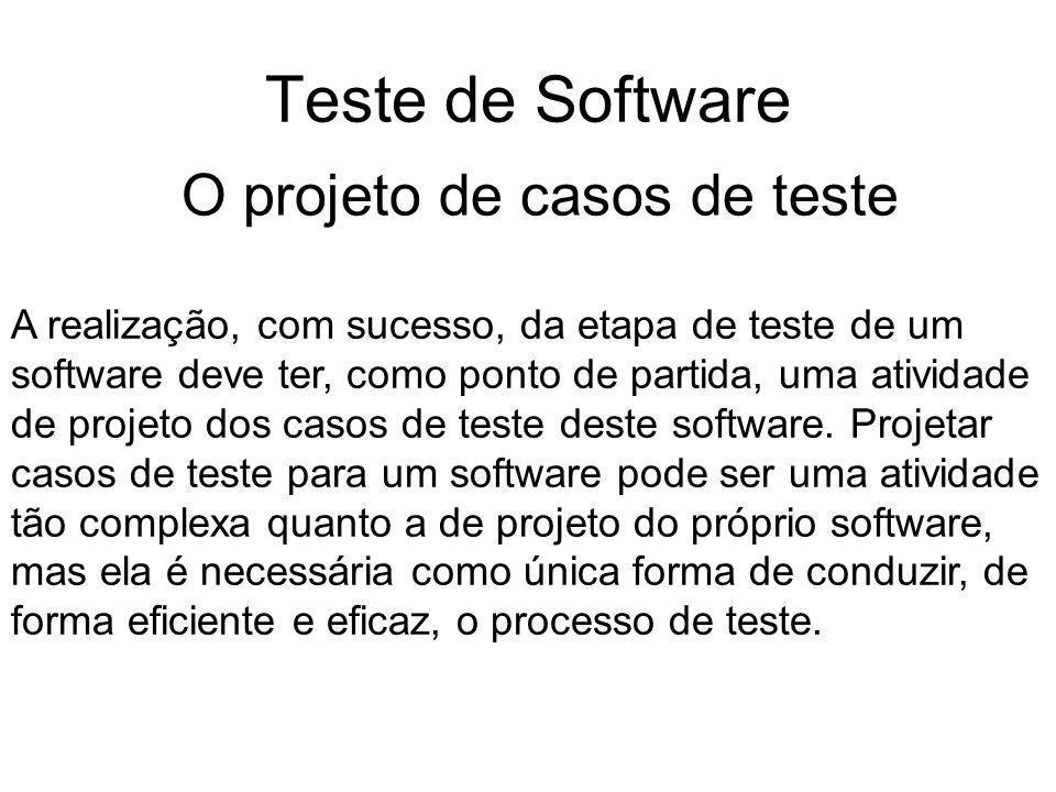 Teste de Software A realização, com sucesso, da etapa de teste de um software deve ter, como ponto de partida, uma atividade de projeto dos casos de teste deste software.