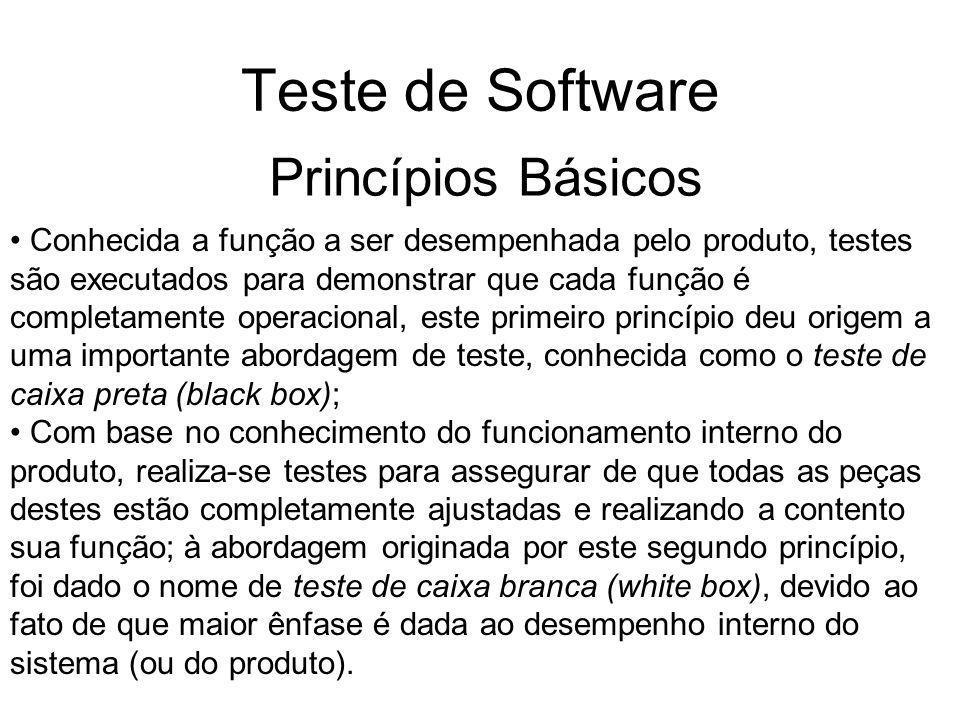 Teste de Software Quando o procedimento de teste está relacionado ao produto de software, o teste de caixa preta refere-se a todo teste que implica na verificação do funcionamento do software através de suas interfaces, o que, geralmente, permite verificar a operacionalidade de todas as suas funções.