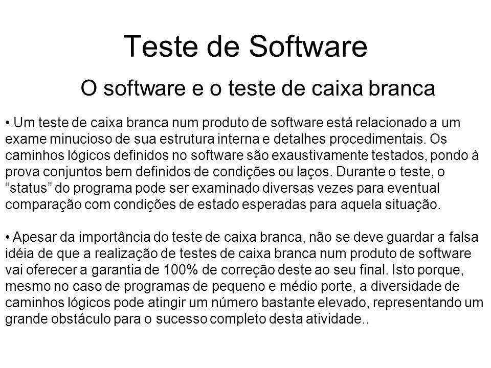 Teste de Software Um teste de caixa branca num produto de software está relacionado a um exame minucioso de sua estrutura interna e detalhes procedimentais.