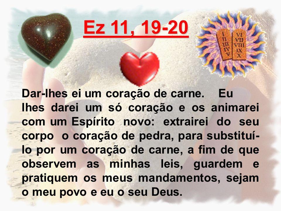 Ez 11, 19-20 Dar-lhes ei um coração de carne. Eu lhes darei um só coração e os animarei com um Espírito novo: extrairei do seu corpo o coração de pedr