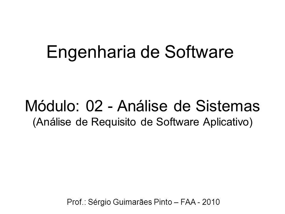 Módulo: 02 - Análise de Sistemas (Análise de Requisito de Software Aplicativo) Engenharia de Software Prof.: Sérgio Guimarães Pinto – FAA - 2010