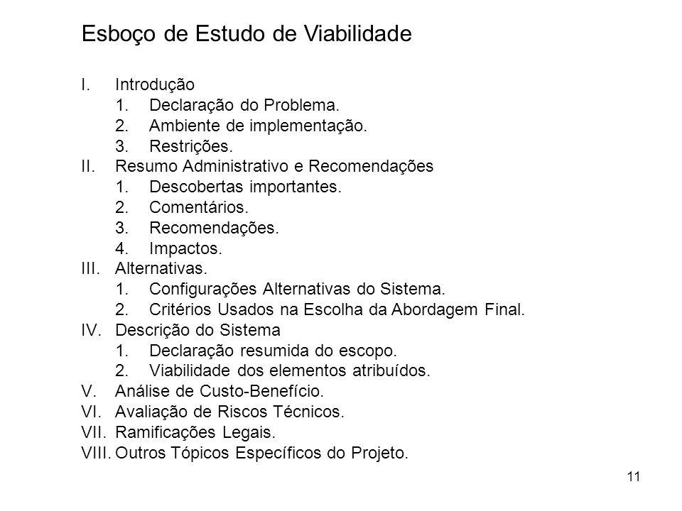 11 Esboço de Estudo de Viabilidade I.Introdução 1.Declaração do Problema. 2.Ambiente de implementação. 3.Restrições. II.Resumo Administrativo e Recome