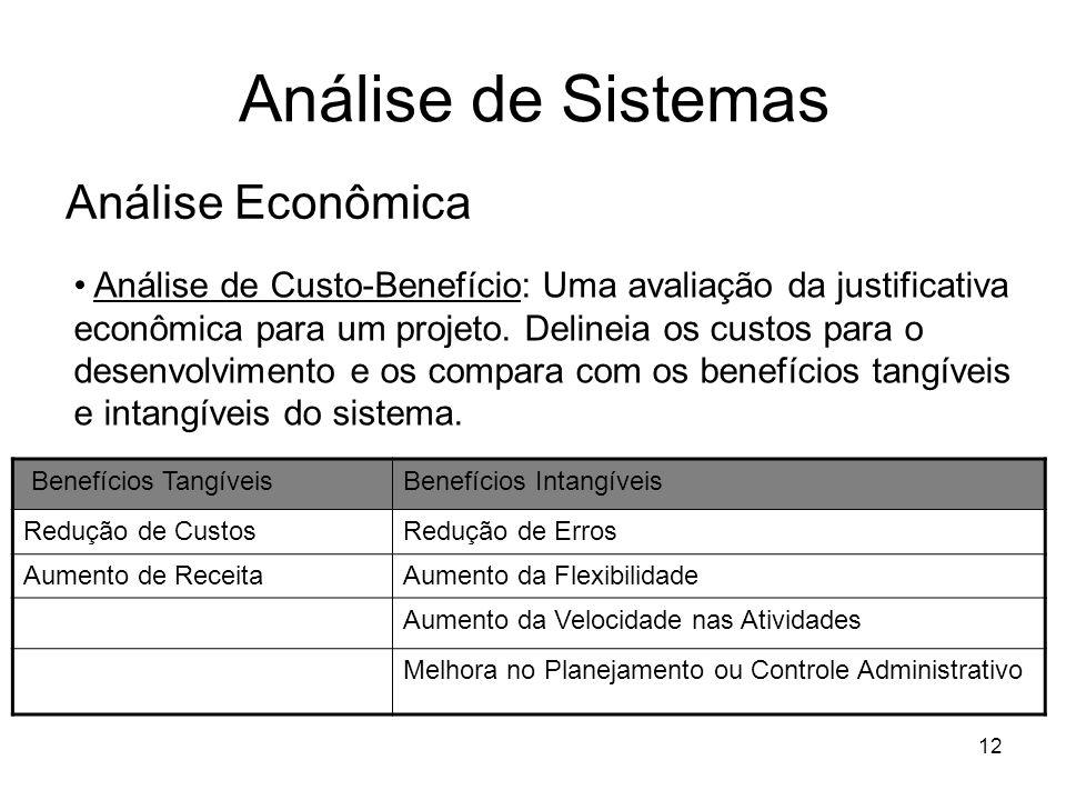 12 Análise de Sistemas Análise Econômica Análise de Custo-Benefício: Uma avaliação da justificativa econômica para um projeto. Delineia os custos para