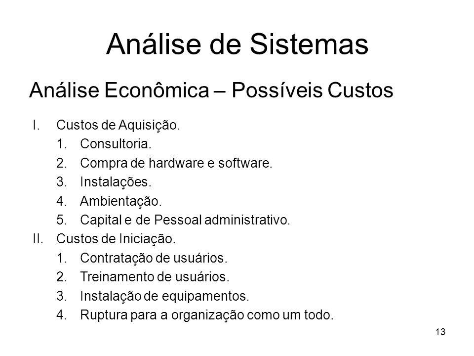 13 Análise de Sistemas Análise Econômica – Possíveis Custos I.Custos de Aquisição. 1.Consultoria. 2.Compra de hardware e software. 3.Instalações. 4.Am