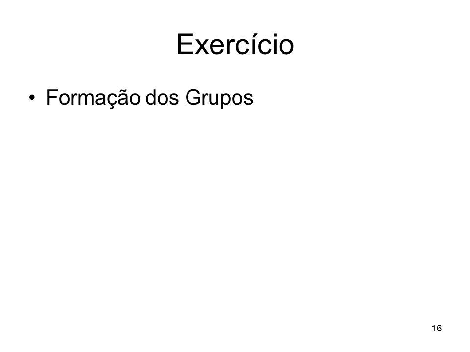 16 Exercício Formação dos Grupos