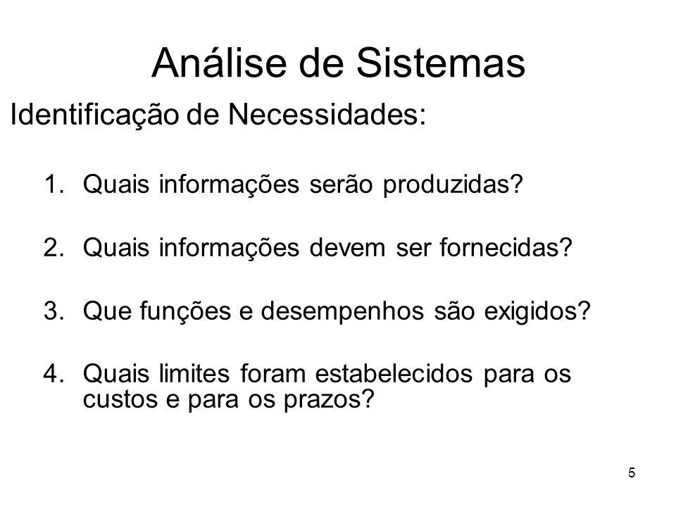 5 Análise de Sistemas Identificação de Necessidades: 1.Quais informações serão produzidas? 2.Quais informações devem ser fornecidas? 3.Que funções e d