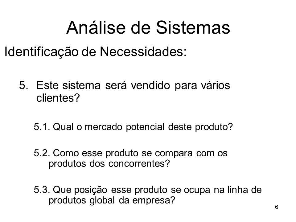 6 Análise de Sistemas Identificação de Necessidades: 5.Este sistema será vendido para vários clientes? 5.1. Qual o mercado potencial deste produto? 5.