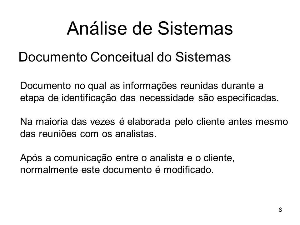 8 Análise de Sistemas Documento Conceitual do Sistemas Documento no qual as informações reunidas durante a etapa de identificação das necessidade são