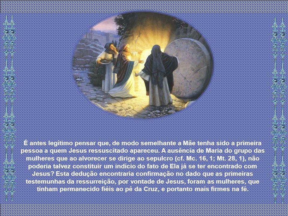 É antes legítimo pensar que, de modo semelhante a Mãe tenha sido a primeira pessoa a quem Jesus ressuscitado apareceu.