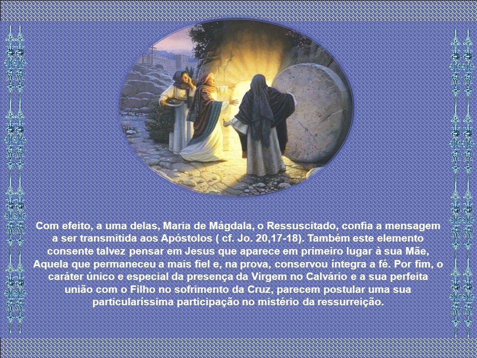 É antes legítimo pensar que, de modo semelhante a Mãe tenha sido a primeira pessoa a quem Jesus ressuscitado apareceu. A ausência de Maria do grupo da