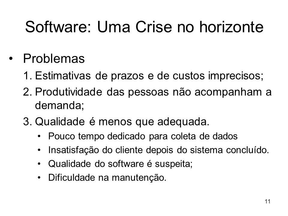 12 Software: Uma Crise no horizonte Causas –Gerentes sem conhecimentos específicos –Deficiência de comunicação –Engenheiros de software pouco treinados –Resistência a mudanças