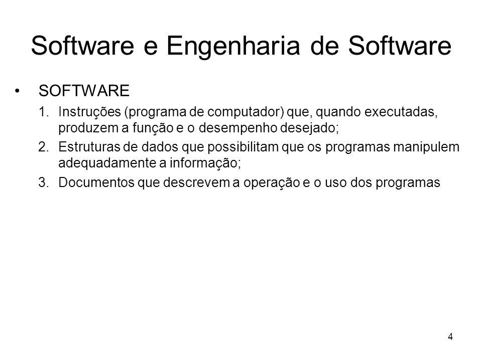5 Software Características do Software –O software é desenvolvido ou projetado por engenharia, não manufaturado no sentido clássico.