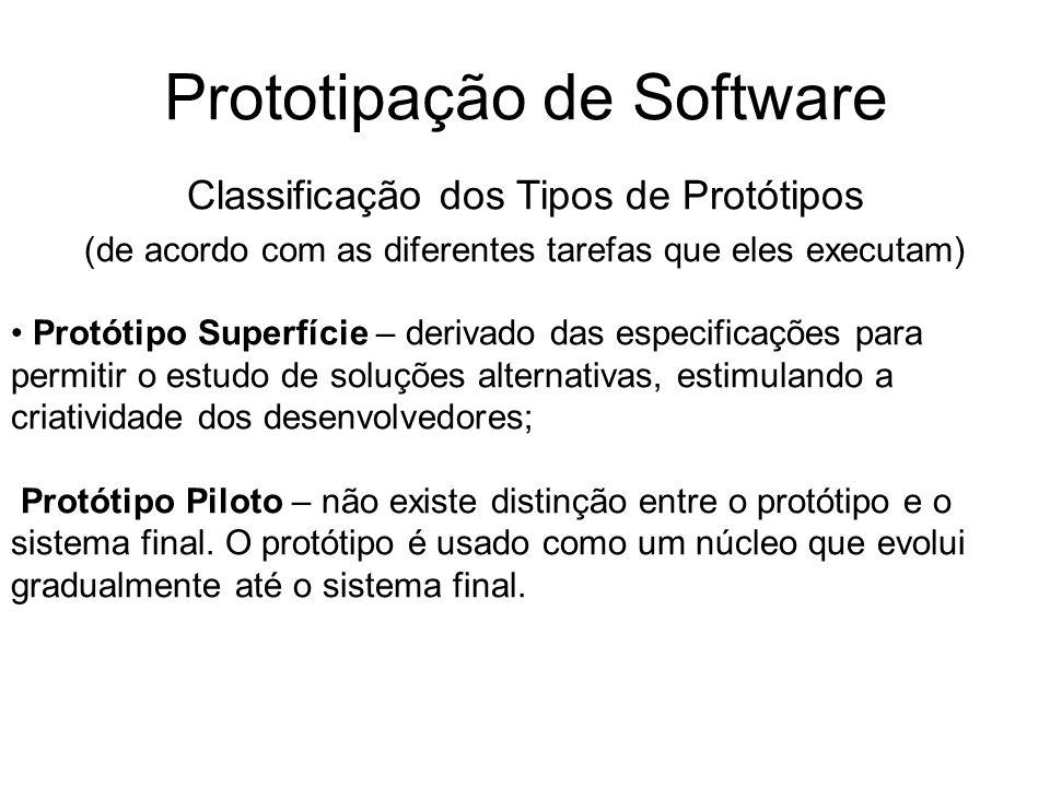 Prototipação de Software Classificação dos Tipos de Protótipos (de acordo com as diferentes tarefas que eles executam) Protótipo Superfície – derivado