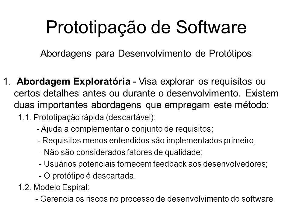 Prototipação de Software Abordagens para Desenvolvimento de Protótipos 1. Abordagem Exploratória - Visa explorar os requisitos ou certos detalhes ante
