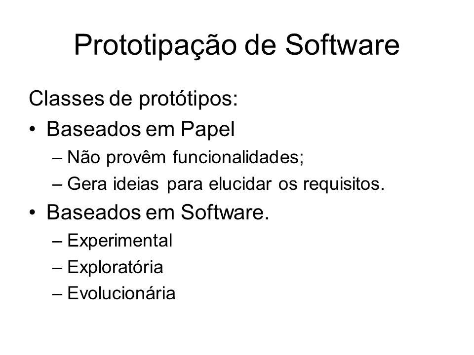 Prototipação de Software Classes de protótipos: Baseados em Papel –Não provêm funcionalidades; –Gera ideias para elucidar os requisitos. Baseados em S