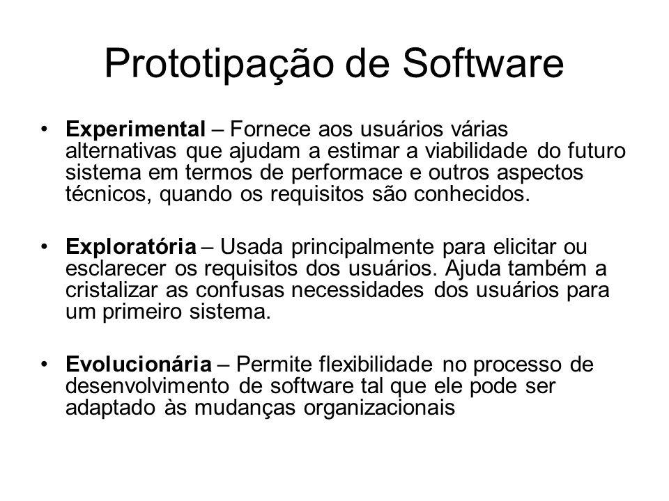 Prototipação de Software Classificação dos Tipos de Protótipos (de acordo com as diferentes tarefas que eles executam) Protótipo de Demonstração – usado pelos desenvolvedores para mostrar aos clientes a viabilidade do novo projeto e a primeira impressão do futuro sistema.