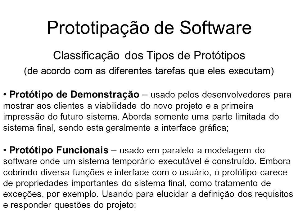 Prototipação de Software Classificação dos Tipos de Protótipos (de acordo com as diferentes tarefas que eles executam) Protótipo Superfície – derivado das especificações para permitir o estudo de soluções alternativas, estimulando a criatividade dos desenvolvedores; Protótipo Piloto – não existe distinção entre o protótipo e o sistema final.