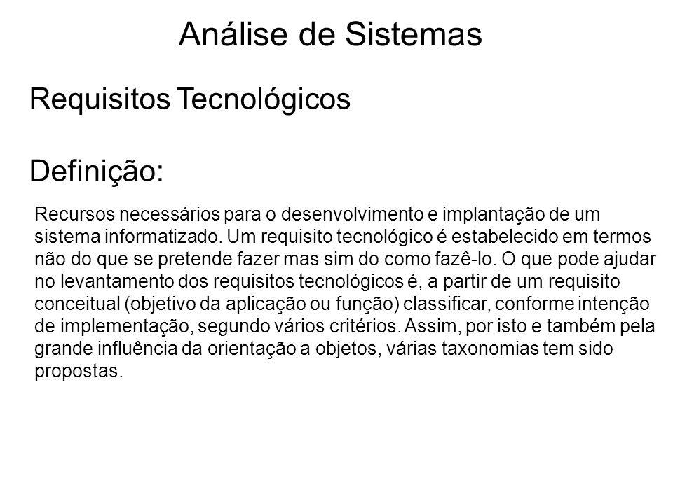 Análise de Sistemas Requisitos Tecnológicos Definição: Recursos necessários para o desenvolvimento e implantação de um sistema informatizado. Um requi
