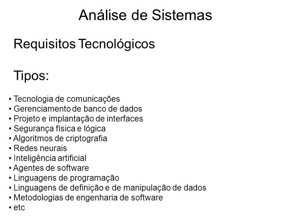 Análise de Sistemas Requisitos Tecnológicos Tipos: Tecnologia de comunicações Gerenciamento de banco de dados Projeto e implantação de interfaces Segu