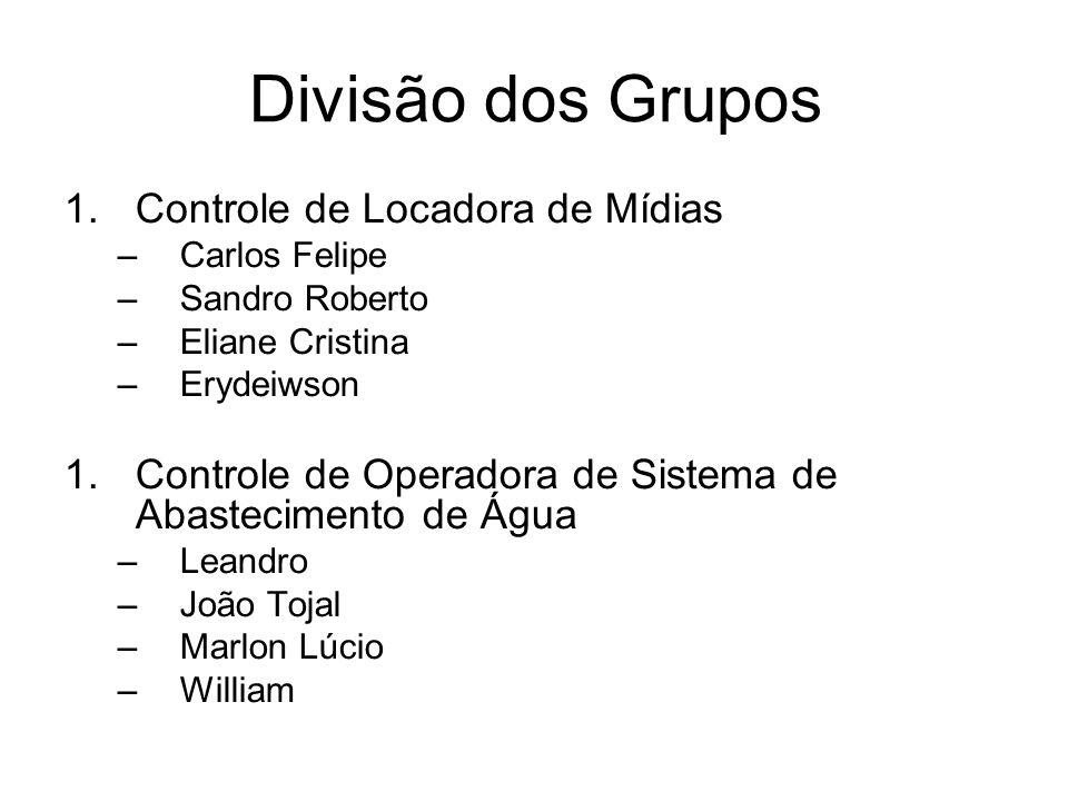 Divisão dos Grupos 1.Controle de Locadora de Mídias –Carlos Felipe –Sandro Roberto –Eliane Cristina –Erydeiwson 1.Controle de Operadora de Sistema de