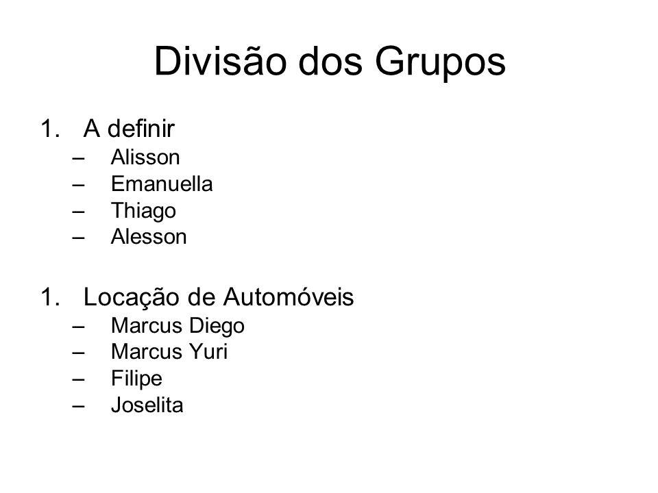 Divisão dos Grupos 1.A definir –Alisson –Emanuella –Thiago –Alesson 1.Locação de Automóveis –Marcus Diego –Marcus Yuri –Filipe –Joselita