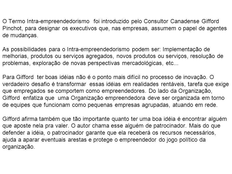 O Termo Intra-empreendedorismo foi introduzido pelo Consultor Canadense Gifford Pinchot, para designar os executivos que, nas empresas, assumem o pape